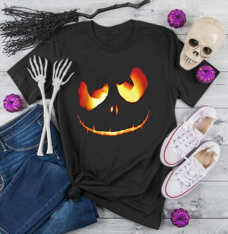 Women Casual Short Sleeve O-neck Halloween Pumpkin Face Printed T-shirt Ladies Fashion Slim Fit Cotton Tops Graphic Tees S-5XL