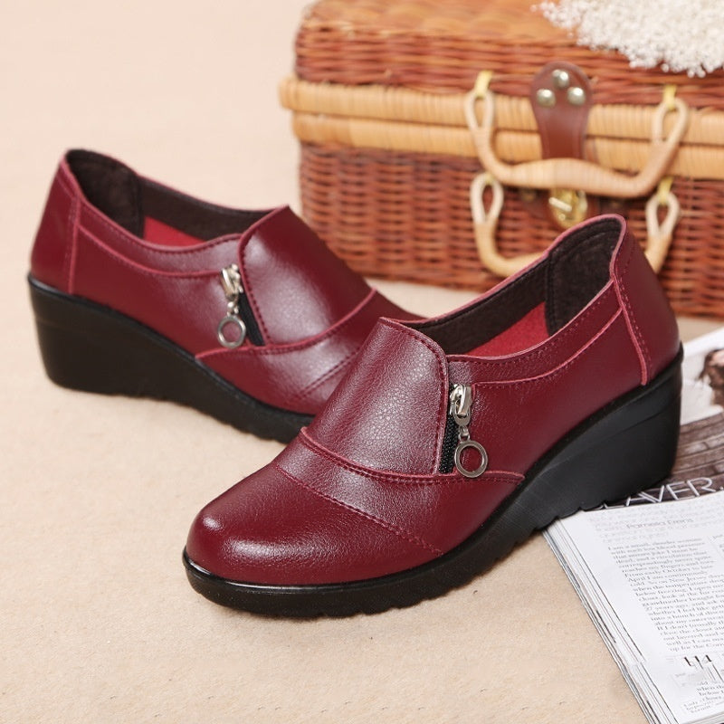 Women Fashion Increase Shoes Women Loafer Soft Leather Shoes Cusaul Shoes Zapatos Casuales Scarpe Casual Chaussures De Sport