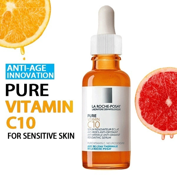 2019 New Style LA ROCHE-POSAY Vitamin C Serum for Face with Hyaluronic Acid Serum - Anti Ageing &Anti-wrinkle&Shrinkage of Pore(Orange)