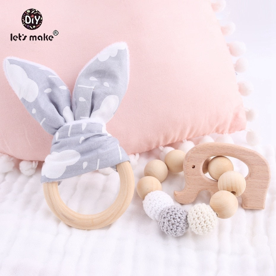 Baby Teether Bunny Ear 2pc/1lot Teething Wooden Amigurumi Bracelets  Beech Animals Shower Gift Baby Mobile Toy Baby Rattle Juguetes De Bebe