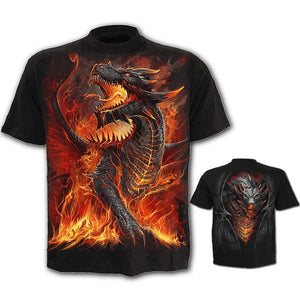 Mens Funny Graphic Shirt Dragon Skull 3D Printed T-Shirts Casual Tops Short Sleeve Tees