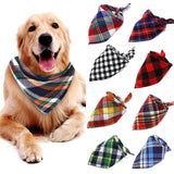 Cotton Lattice Pet Triangle Towel Dog Collars Pet Cat Puppy Neck Scarf Pet Scarf Collar Pet Neck Decoration Neckerchief