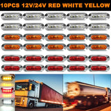 10ps/set 12V 24V Yellow/White/Red Truck Side Marker Clearance Light Oval Chrome Base LED
