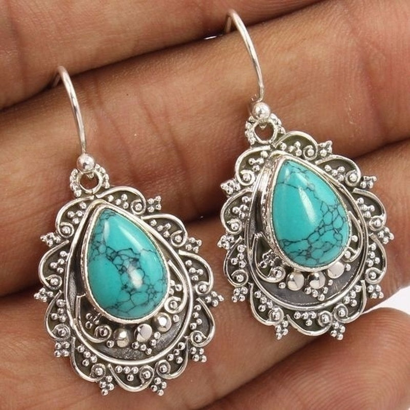 1Pair Women's 925 Sterling Silver Natural Turquoise Gemstone Hook Dangle Stud Vintage Earring Party Gifts Jewelry