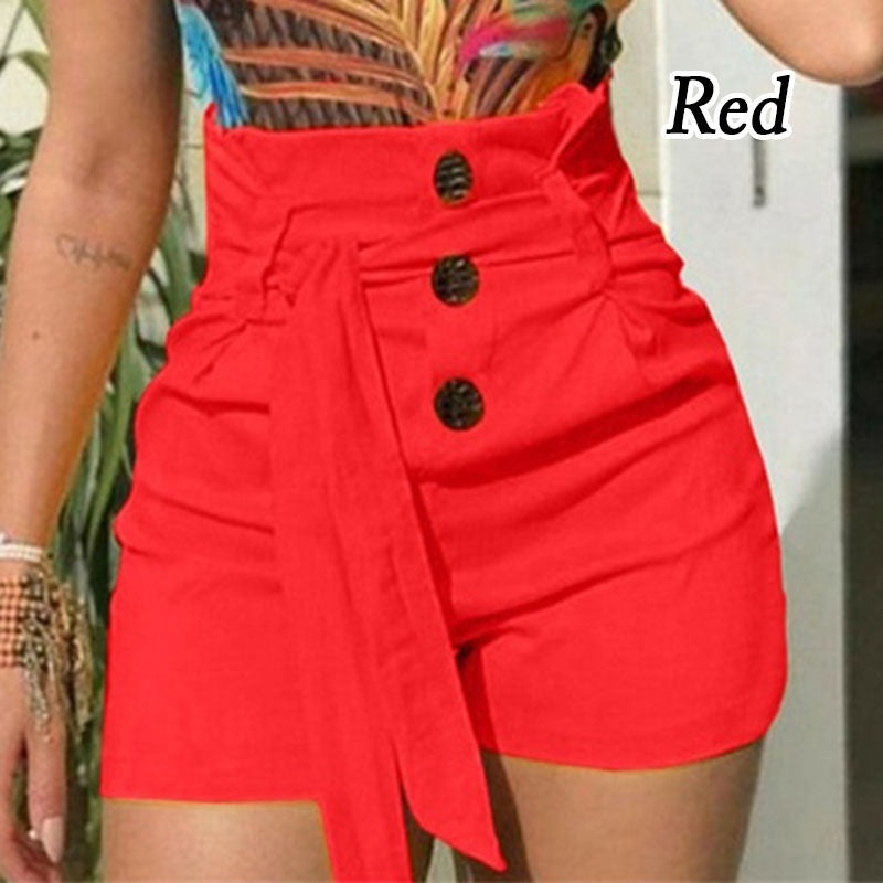 2019 Summer Women s Fashion Lace Up Tie Pants Plus Size Casual High Waist Short Pants(S-5XL)