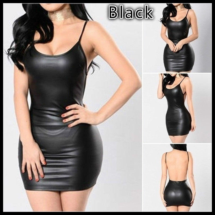 2019 Women Latex Dress Sleeveless V-Neck Summer Clubwear Outfits Party Black Backless Leather Dresses Cosplay Fancy Lingerie Dress Forwomen