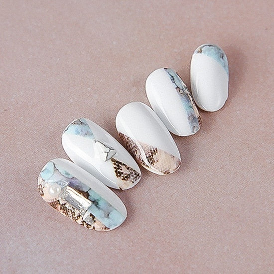 1pc Snakeskin Marble Stone Pattern 3D Nail Art Stickers Nail Sticker Decals Nail Decorations