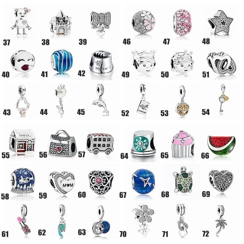 2019 72style DIY Jewelry Making 925 Sterling Silver Pendants for Necklace European Charms Silver Beads for Bracelets