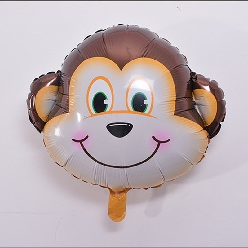6 PCs / 12 PCs / 24 PCs Mini Animal Head Foil Balloon Inflatable Balloon Happy Birthday Party Adornment Children's Baby Bath Party Supplies
