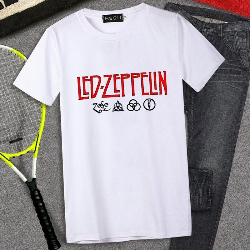 2019 Men Fashion Casual Led Zeppelin Letter Printed Tee Shirt Short Sleeve Round Neck Shirt Tops