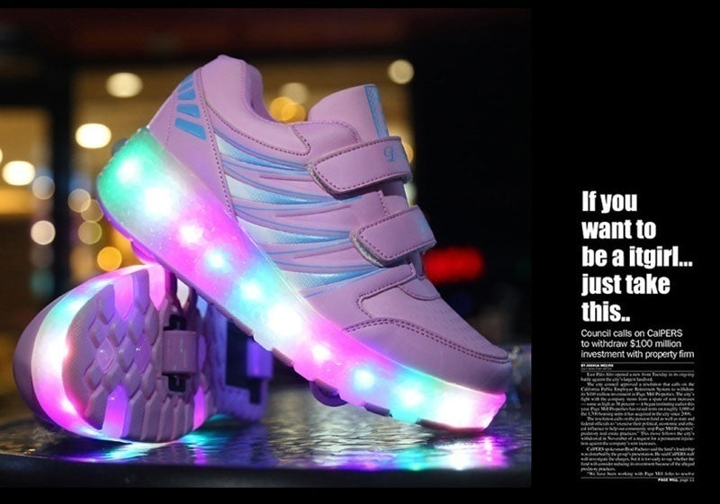 Kids LED Shoes Light Up Shoes Sneakers With Two Wheels Boy Girl Mesh Roller Skate Shoes Chaussure Enfant Glowing Luminous Women and Men Shoes