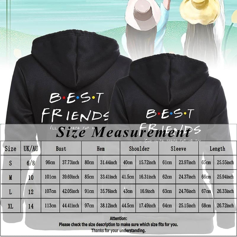 New Women Sisters Hoodies Best Friends Bbf Pullovers Tops Letter Printed Hooded Harajuku Girl Friends Sweatshirt