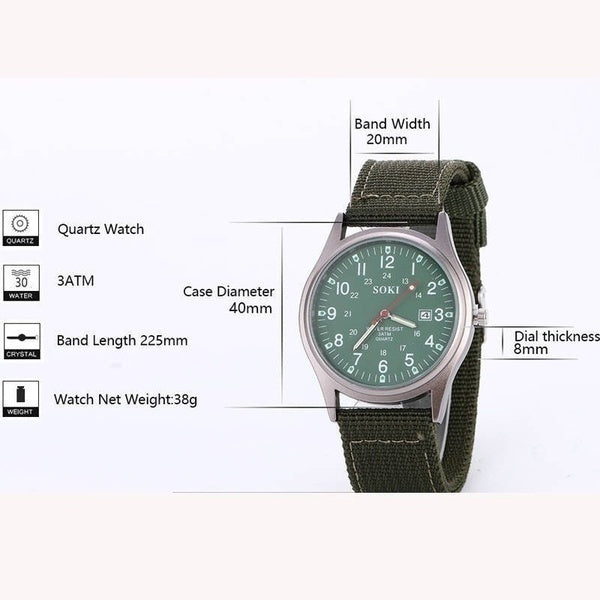 Mens Fashion Watches Glow in the Dark Luxury Nylon Military Clock Army Analog Quartz Watch Dial Date Calendar Sport reloj hombre