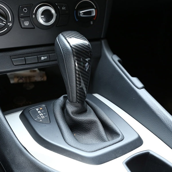 Car Styling Carbon Fiber Gear Shift Handle Sleeve Cover Stickers for BMW 1 3 series E90 E92 E93 E87 X1 E84 Auto Interior Accessories