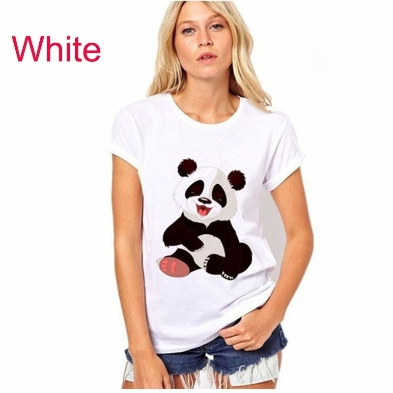 Panda Printed Women Summer Casual T Shirt Women Printing T Shirt Women Lovely Tops