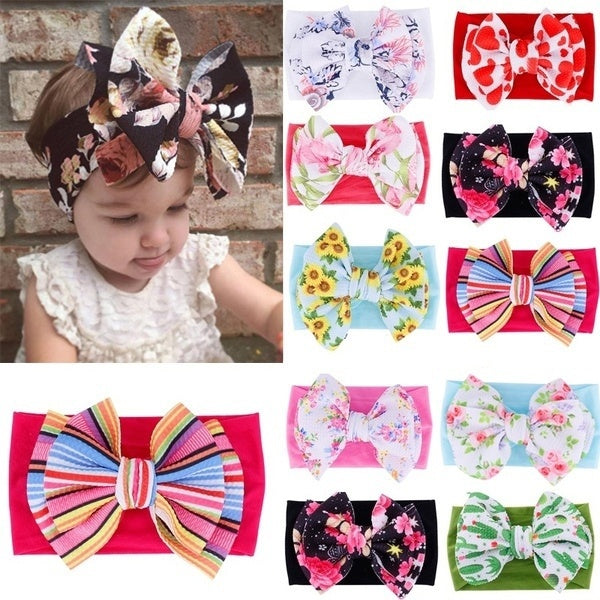 New Printed Bow Hairband For Children Soft Nylon Headband Boho Baby Headband Baby Girl Headband Turban Hair Accessories