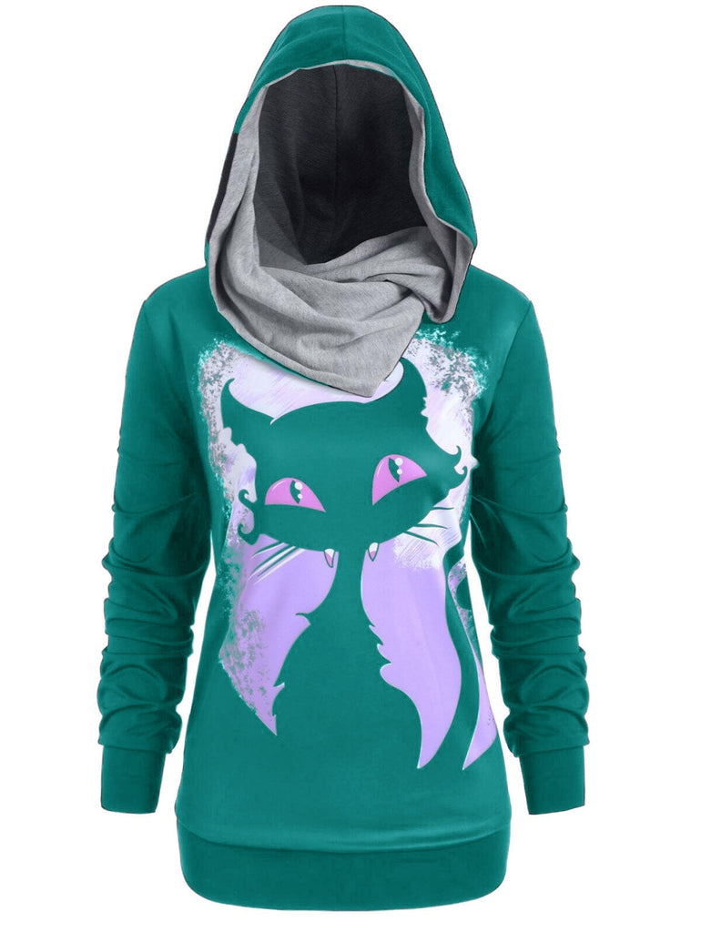Women Fashion Halloween Style Cat Printed Sweatshirt Pullovers Hoodies Plus Size Tops