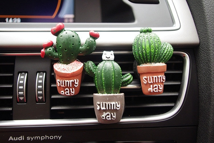 Cute Cartoon Cactus Car Perfume Air Freshener Car Fragnance Clip Vent Parfume Car Flavoring Accessories Automobile Decoration