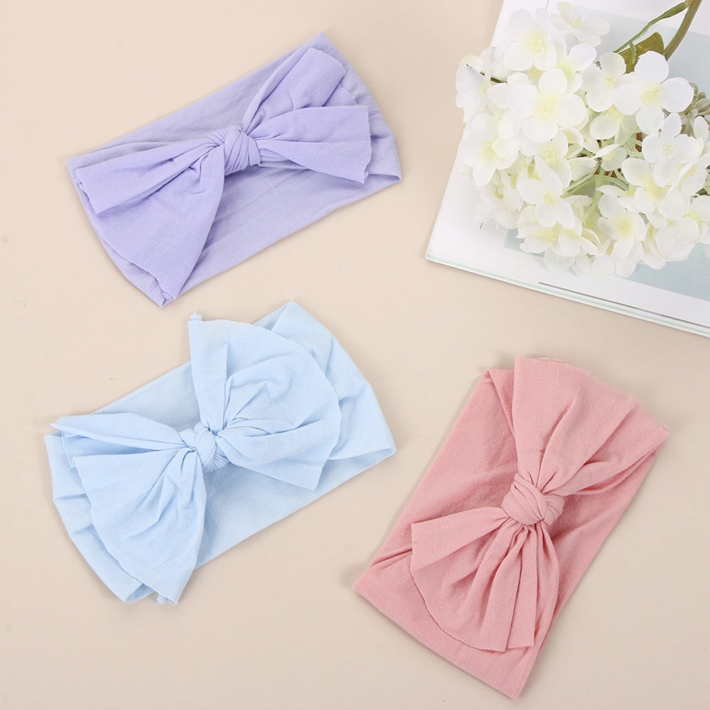 Cute Toddler Hair Band Headwear Soft Bowknot Headwrap Girls Bow Hairband  Infant Stretch Turban Baby Nylon Headband