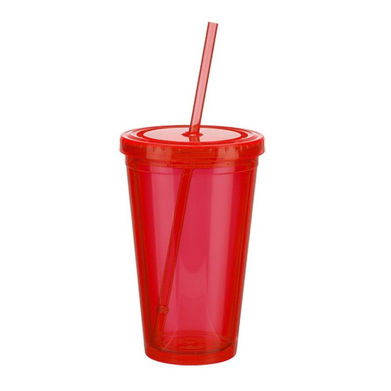 Plastic Iced Tumbler Mug With Straw Liquid Beaker Lid Double-walled Ice Cold Drink Coffee Juice Tea Travel Cup