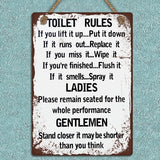 1*Newest Shabby Metal Hanging Sign Toilet Rules Wall Door Decorative Plaque 30*20cm