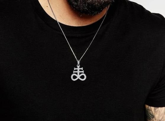 Leviathan Cross Sulfur Pendant Necklace 316L Stainless Steel Church Satan Devil Inverted Cross Male Jewelry