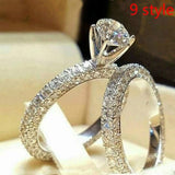 9 Style Luxury 2 Piece Women's 925 Sterling Silver Ring Natural White Sapphire White Gold Engagement Jewelry Anniversary Gift Party Bridal Wedding Diamond Jewelry Ring Size 5-11