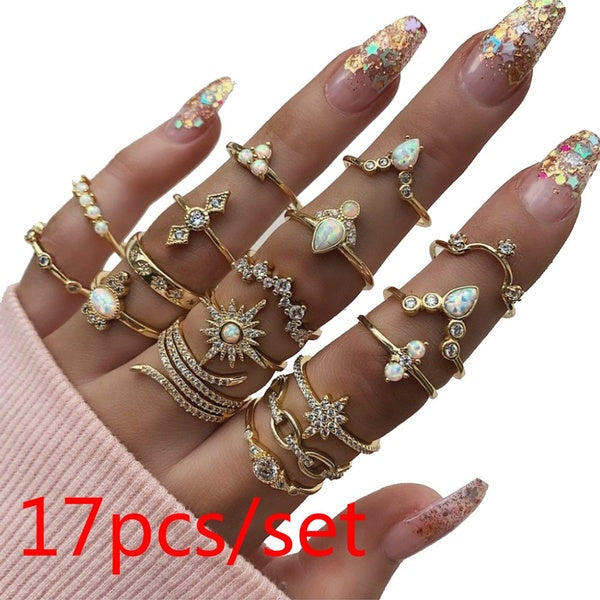 17pcs/set Vintage Ring Set Diamond Crystal Ring Color Bohemian Joint Rings for Women