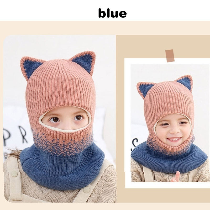 2020 New Winter Cute 2-5 Years Old Multifunctional Cashmere Thickening Windproof Knitted Wool Hat Ventilation Head Cover Masked Hat Boys Girls Kids Baby Beanie Neck Face Guard Lovely Cartoon Balaclava Hat