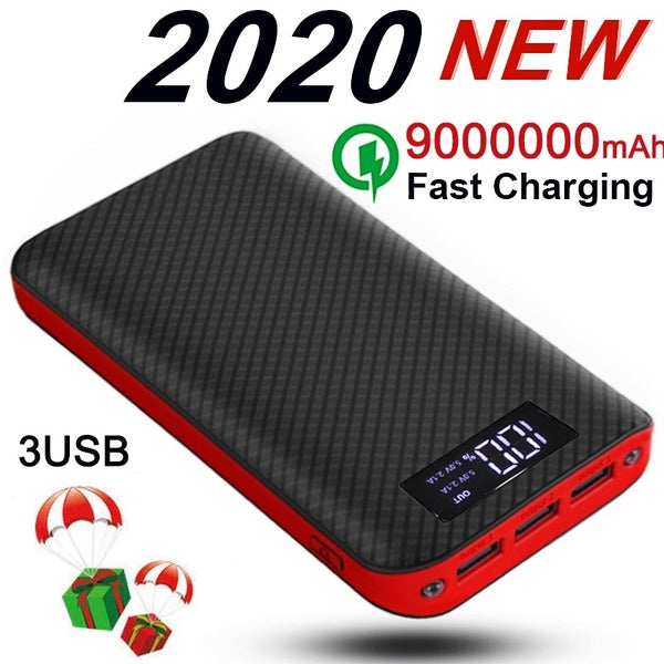 2020 Best Gift !!!Power Bank 9000000mAh Lightweight External Battery Pack with 2 LED Lights 3 Outputs   Universal Phone Charger Compatible with Mobile Phone