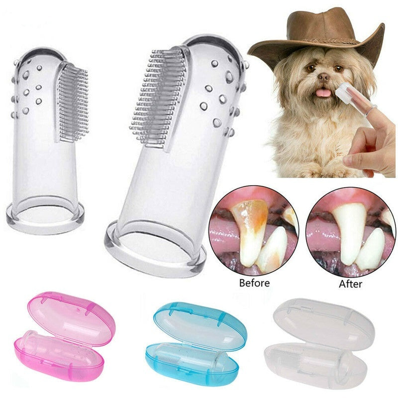 High Quality Latex Finger Toothbrush Pet dog Cat Teeth Care Cleaning Supplies