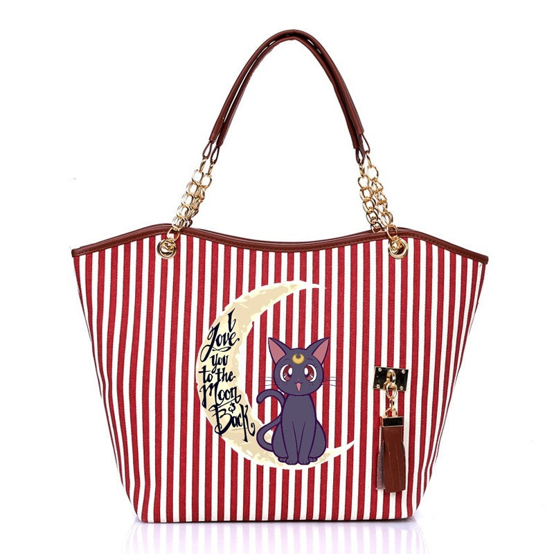 Cartoon Sailor Moon Tassels Chain Luna Cat Women Handbag Shopping Shoulder Tote Bag