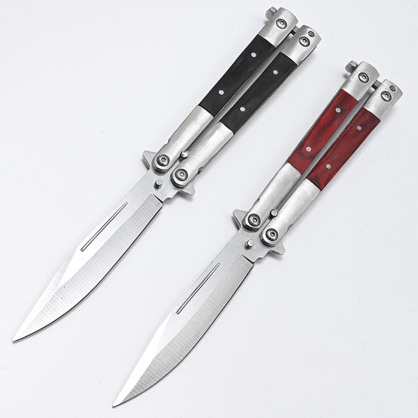 Popular Balisong Knife -in Wood Handle - Flipping Fanning Knives - Balisong Butterfly Folding Pocket knifes