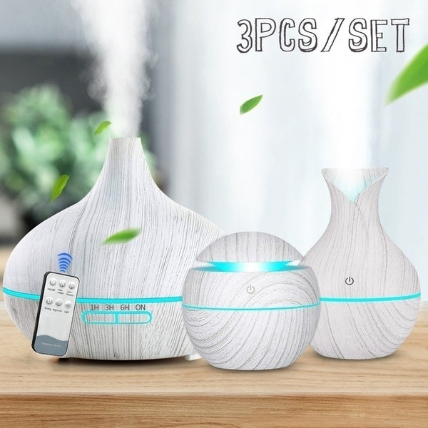 3-Piece Set Wood Grain Air Humidifier Aroma Essential Oil Diffuser Ultrasonic Cool Mist Purifier 7 Color Change LED Night