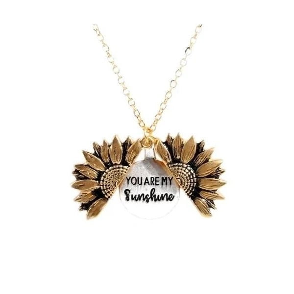 You Are My Sunshine Engraved Necklace Sunflower Locket Necklaces Christmas Gifts