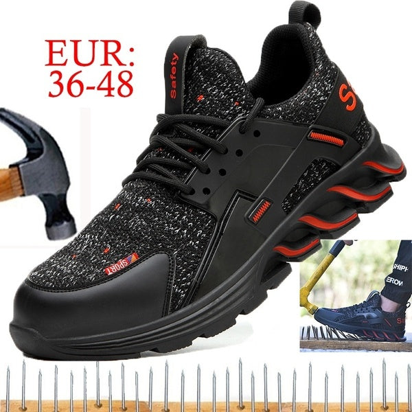 Men European Standard Steel Toe Cap Anti-smashing Anti-piercing Safety Shoes Lightweight Breathable Deodorant Work Shoes