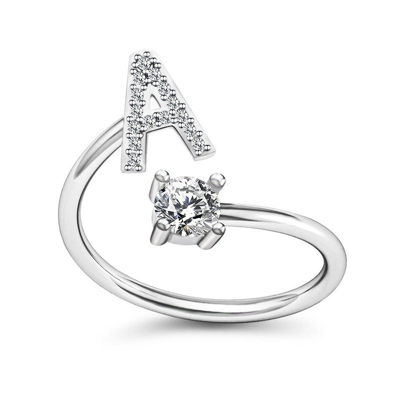 Adjustable Open Classic Alphabet Rings Women Letter Exquisite Jewelry