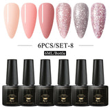Mtssii 6Pcs/Box UV/LED Gel Nail Polish Kit Pure Color Glitter Nail Varnish Set Soak off Varnish Gel Polish Nail Kit