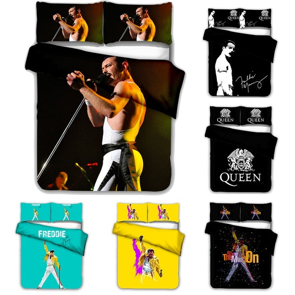 Fashion Newest 3D Digital Printed Bedding Set Freddie Mercury Hip Hop Style for Kids and Adults Twin Full Queen King Size