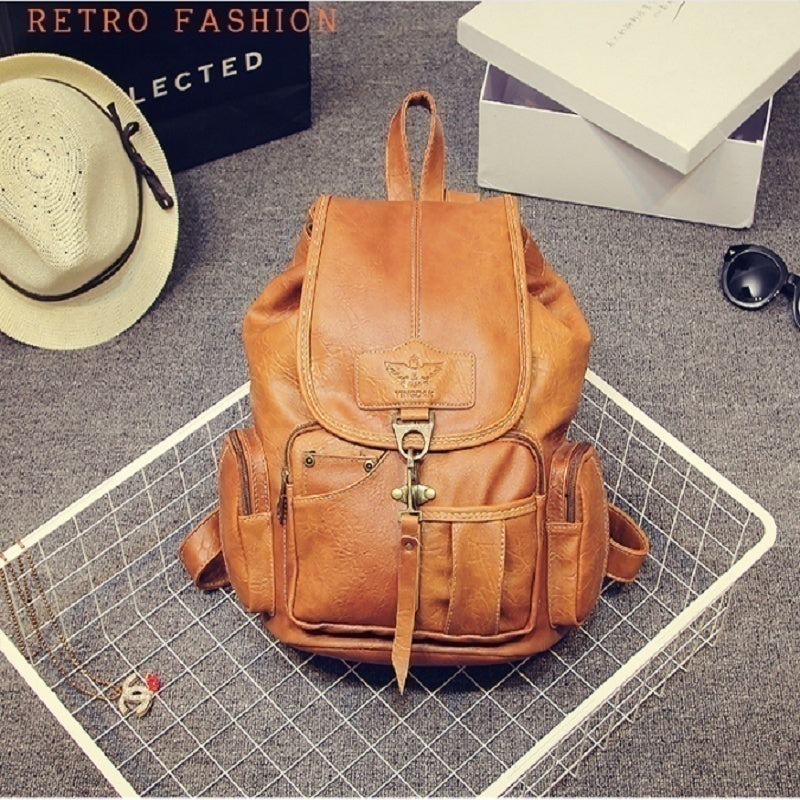 Women Backpack Vintage Backpacks for Teenage Girls Fashion Travel Pack Bags High Quality PU Leather Rucksack