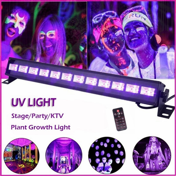 U'king Stage Light UV 6/9/12-LED Black Light Fixtures Portable Black Light Lamp UV Poster UV Art Dimmable Blacklight Lamp for DJ Party Bars Club Decoration