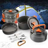 2-3 People Portable Outdoor Cooking Camping Pot Cookware Set With Teapot & Tableware