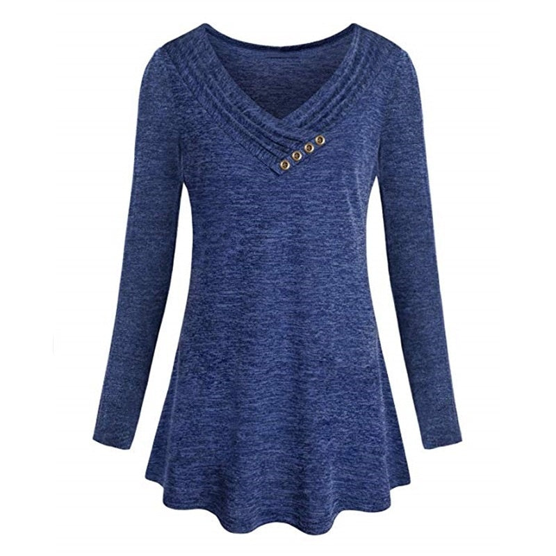 Autumn Women V Neck Solid Color Tshirt Long Sleeve Casual Tops Plus Size Pullovers Vintage Loose Blouses 8 Color