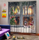 A Set Christmas 3D Digital Printing Window Curtains Living Room Bedroom Window Drapes 104x84inch Waterproof Curtains