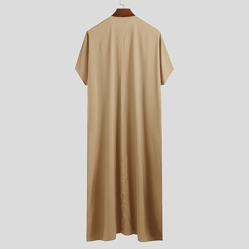 Colour:Green,Navy,Khaki 2020 Muslim Clothing Men's Short Sleeve Kaftan Islamic Vintage Jubba Clothing Robe