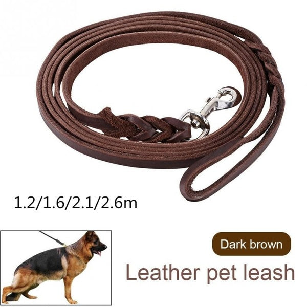 Brown Braided Double Handle Leather Dog Leash For Pet Walking Lead With Hook