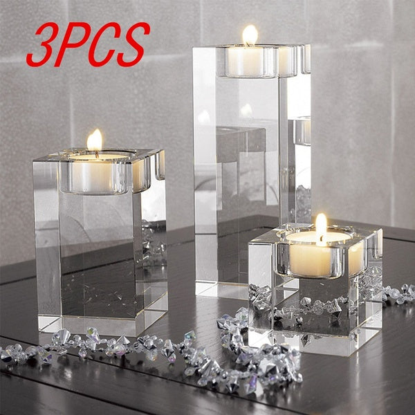 1/3 Pcs Crystal Glass Candle Holder Set Crystal Candlelight Dinner Candle Holder Creative Ornament For Home Dining Table And Bar