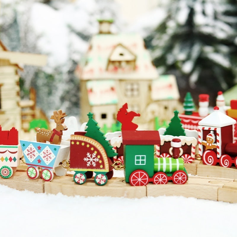 Lovely Christmas Wood Train Santa Claus Little Train Popular Wooden Train Decor Christmas Ornaments New Year Gift
