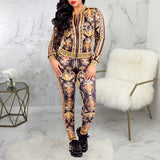 Women Two Piece Sets Tracksuit Long Sleeve O-neck Zipper Tops and Ankle-Length Pants 2 Pcs Outfits Female Print Sportswear