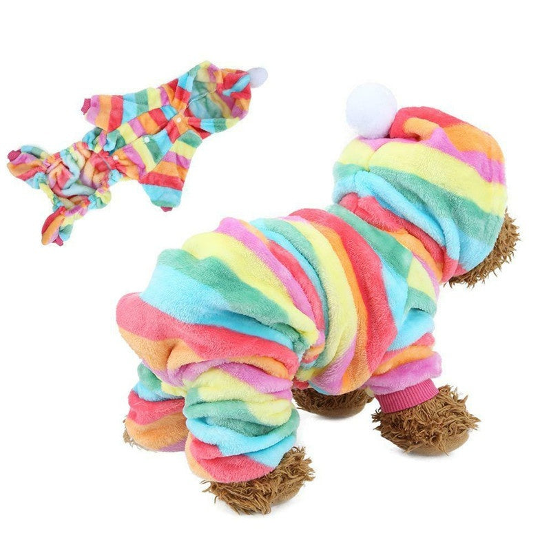 Indoor Dog Hoodie Jumpsuit Flannel Clothes Puppy Pajamas Pets Warm Coat